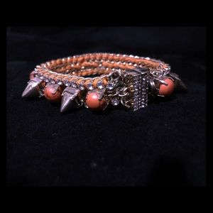 Orange Stone Spikes and Faux Diamonds Bracelet